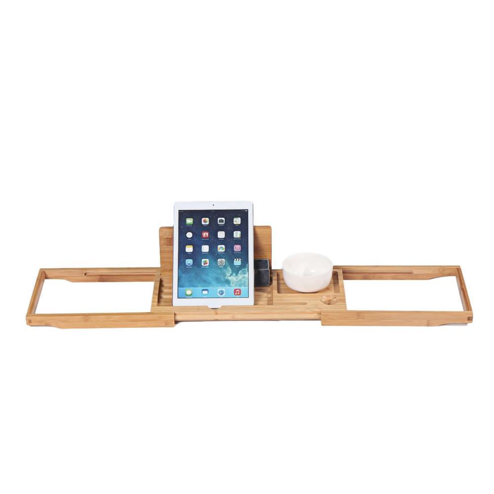 desktop-off-surface-shelves Bamboo Tray Non Slip Bath Tray Bathtub Book Tablet Holder Reading Rack Multi Function Desktop Shelf Supplies HOB1746365 1 1