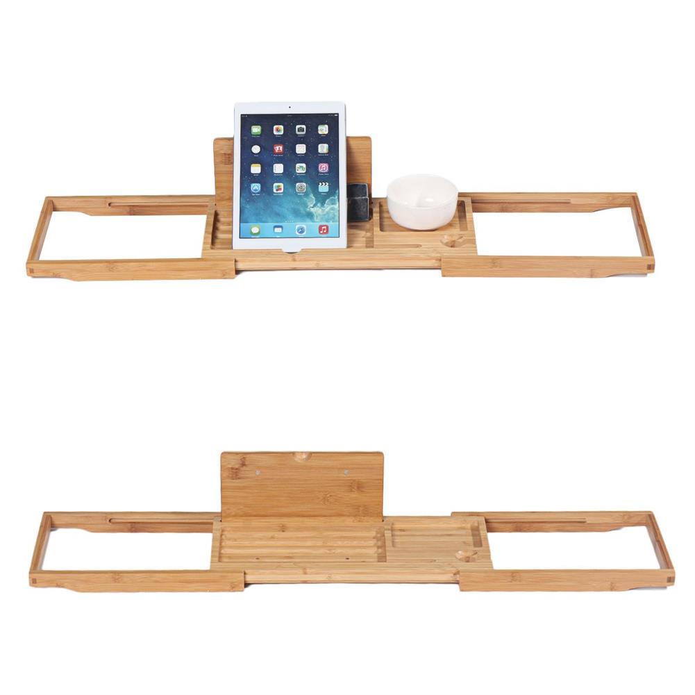 desktop-off-surface-shelves Bamboo Tray Non Slip Bath Tray Bathtub Book Tablet Holder Reading Rack Multi Function Desktop Shelf Supplies HOB1746365 2 1