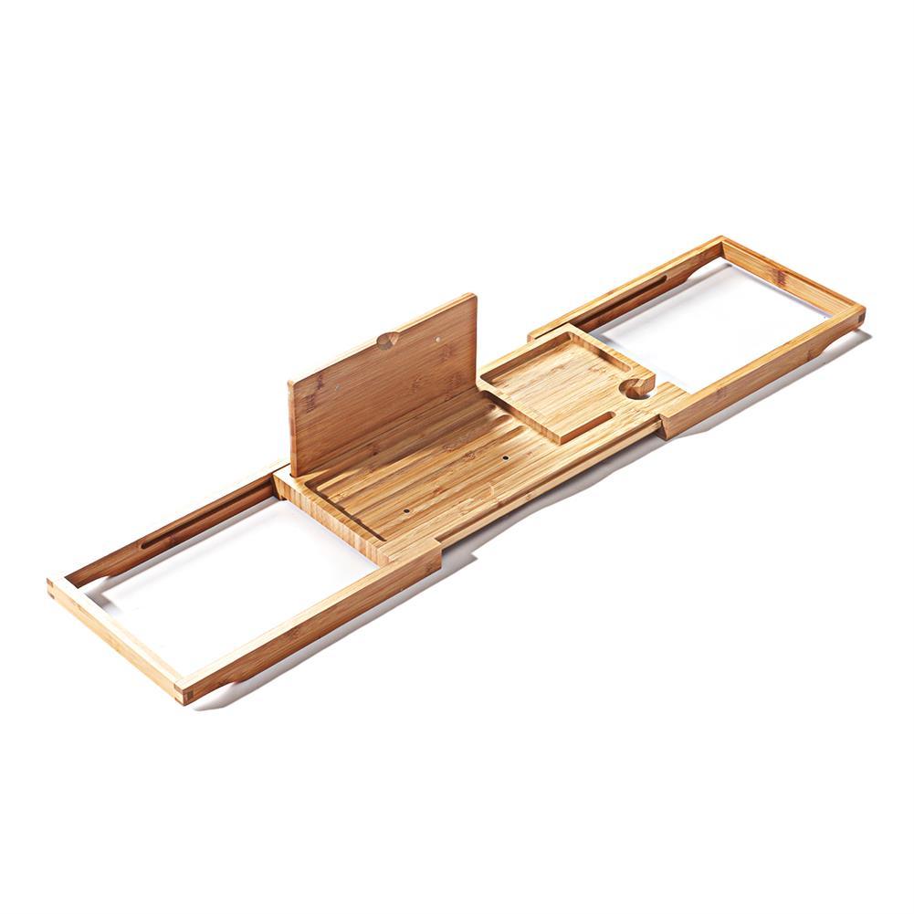 desktop-off-surface-shelves Bamboo Tray Non Slip Bath Tray Bathtub Book Tablet Holder Reading Rack Multi Function Desktop Shelf Supplies HOB1746365 3 1