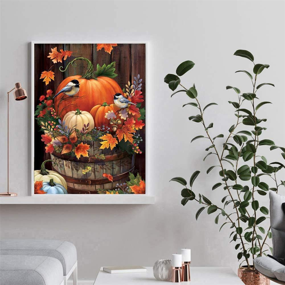 art-kit DIY 5D Diamond Painting Pumpkin Bird Full Drill Handmade Craft Cross Stitch Embroidery Flower Pink Clouds Home Wall Decorations HOB1746607 2 1