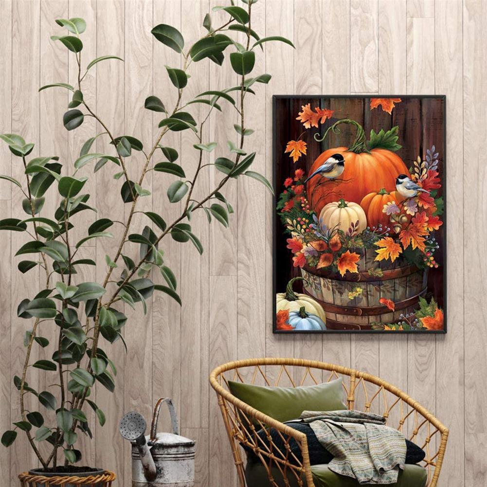 art-kit DIY 5D Diamond Painting Pumpkin Bird Full Drill Handmade Craft Cross Stitch Embroidery Flower Pink Clouds Home Wall Decorations HOB1746607 3 1