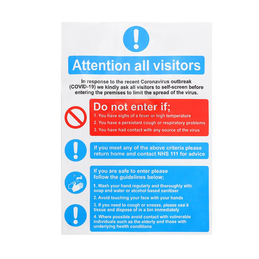 paper-notebooks Waterproof Health & Safety Sticker Details about Attention All Visitors Sign A4 Size HOB1746999 1 1