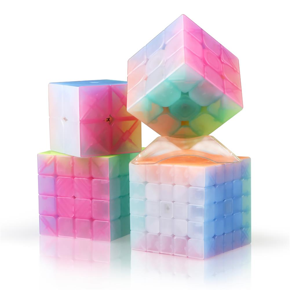 other-learning-office-supplies QiYi Magic Cube Jelly Color 3x3 4x4 5x5 Keychain Pyramid Professional Speed Cube Children Educational Toy Supplies HOB1748040 1 1