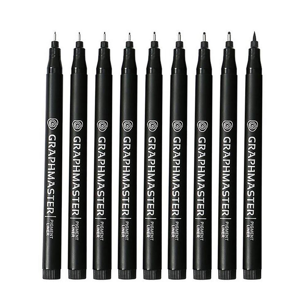 brush 9pcs Drawing Line Pens Micron Neelde Hand Lettering Pens Waterproof Pigment Sketch Markers Pen for Design Art Supplies HOB1748159 1