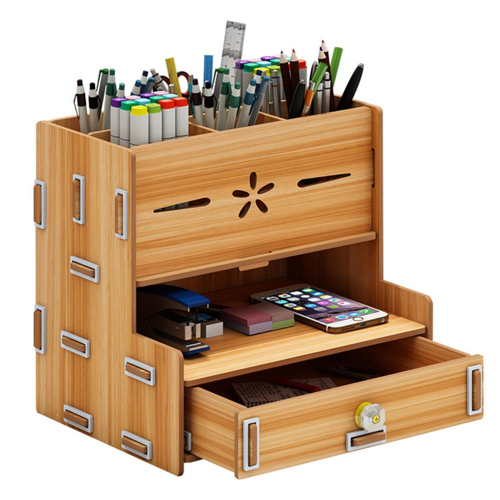 desktop-off-surface-shelves Multi-Functional Storage Box Wooden Desktop Organizer DIY Pen Stationary Holder Home office Supplies Rack with Drawer HOB1748814 1