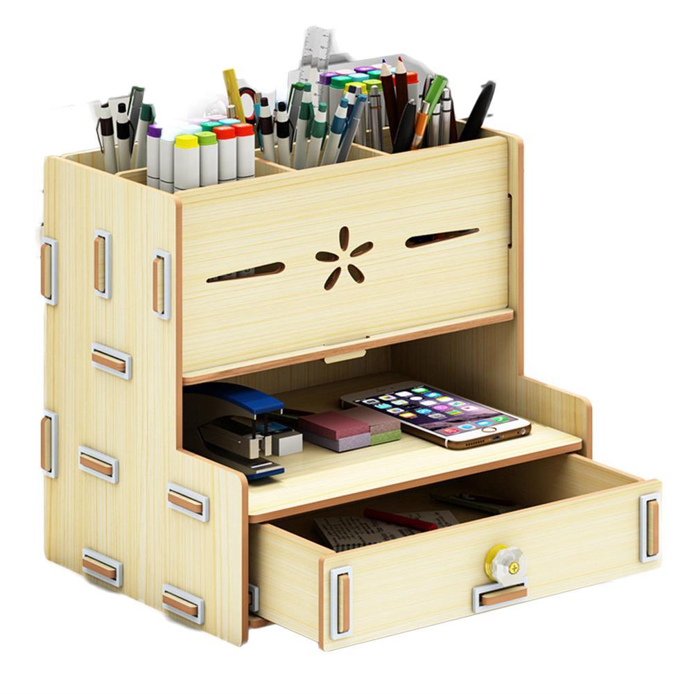 desktop-off-surface-shelves Multi-Functional Storage Box Wooden Desktop Organizer DIY Pen Stationary Holder Home office Supplies Rack with Drawer HOB1748814 1 1