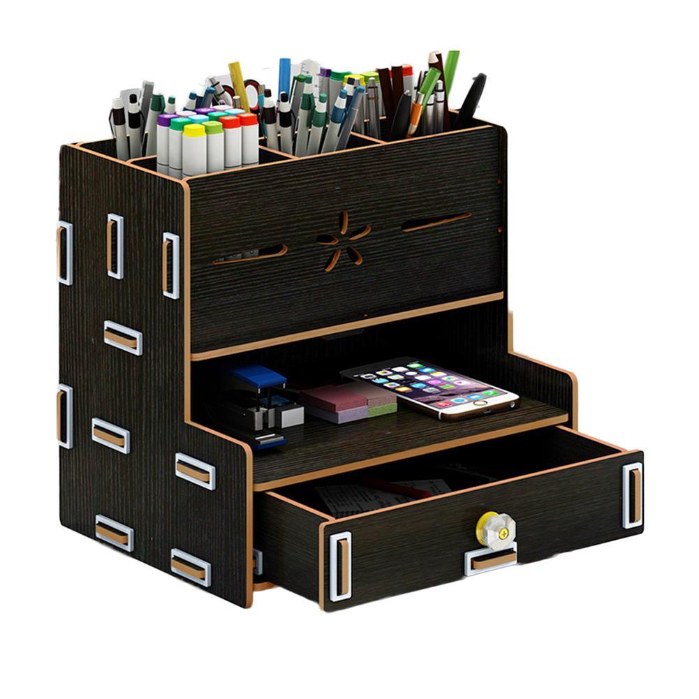 desktop-off-surface-shelves Multi-Functional Storage Box Wooden Desktop Organizer DIY Pen Stationary Holder Home office Supplies Rack with Drawer HOB1748814 2 1