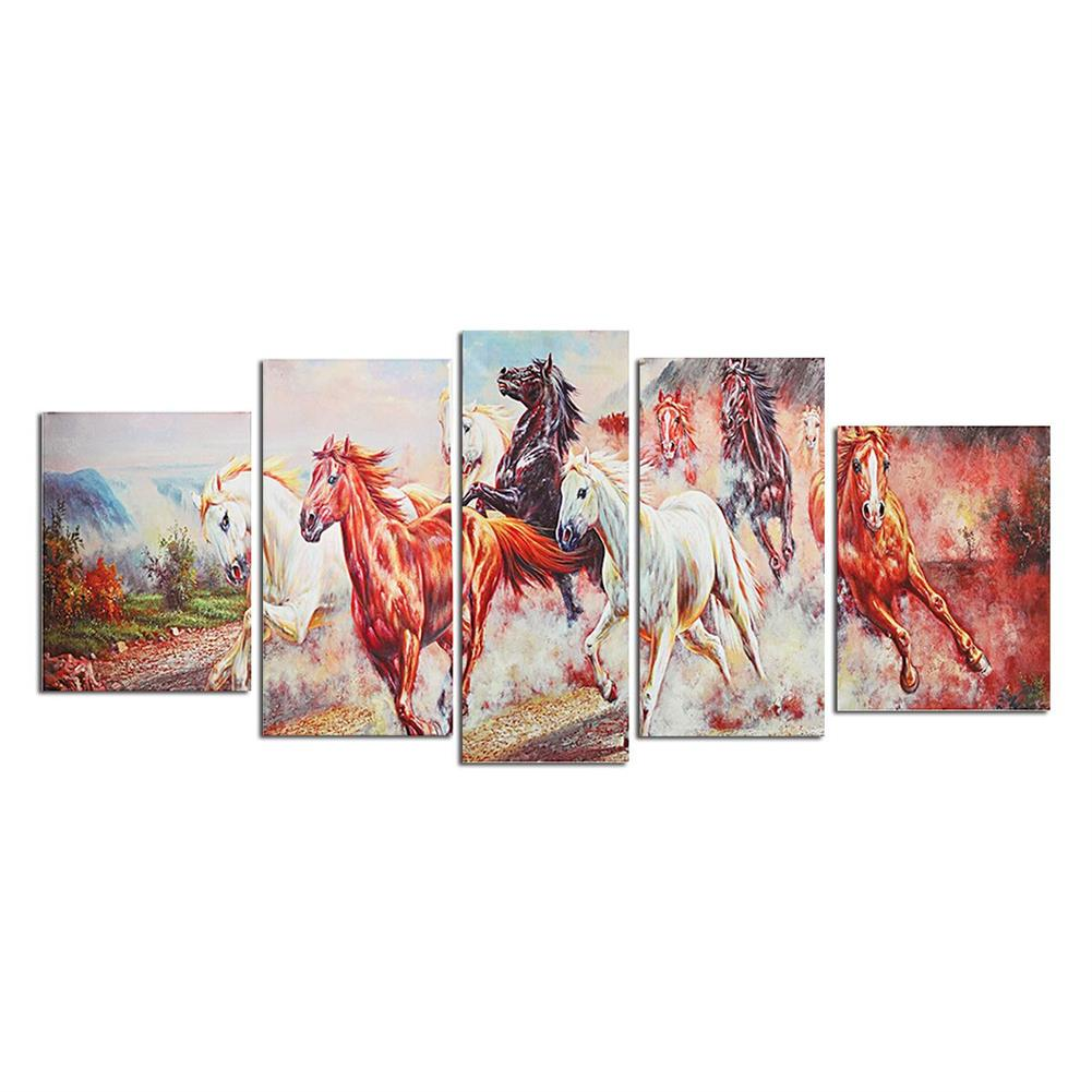 other-learning-office-supplies 5 Panels Horses Modern Painting Wall Decoration Art Picture Hanging Drawing Living Bedroom Decoration no Frame HOB1748823 1