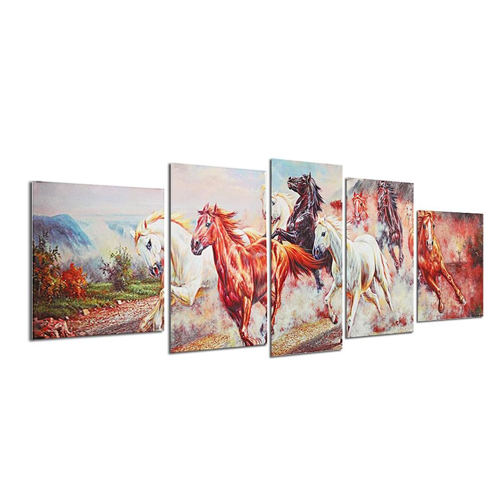 other-learning-office-supplies 5 Panels Horses Modern Painting Wall Decoration Art Picture Hanging Drawing Living Bedroom Decoration no Frame HOB1748823 2 1