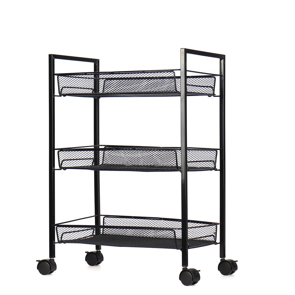 book-stands 3/4 Layers Movable Shelf Kitchen Organizer Iron Storage Baskets Removable Holder with Universal Wheel Trolley for Kitchen Bathroom Bedroom HOB1749176 1