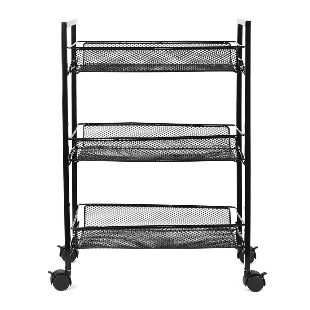 book-stands 3/4 Layers Movable Shelf Kitchen Organizer Iron Storage Baskets Removable Holder with Universal Wheel Trolley for Kitchen Bathroom Bedroom HOB1749176 2 1