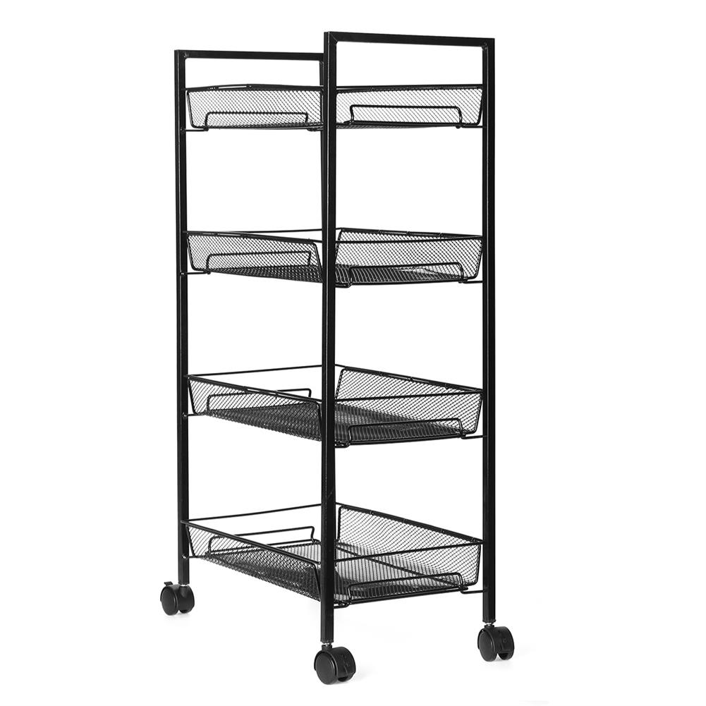 book-stands 3/4 Layers Movable Shelf Kitchen Organizer Iron Storage Baskets Removable Holder with Universal Wheel Trolley for Kitchen Bathroom Bedroom HOB1749176 3 1