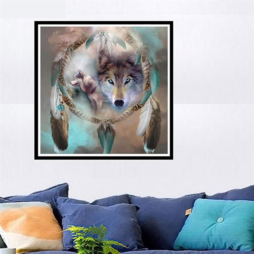 art-kit DIY 5D Diamond Painting Kit Dream Catcher Wolf Handmade Craft Cross Stitch Embroidery Home Wall Decoration HOB1749345 1 1