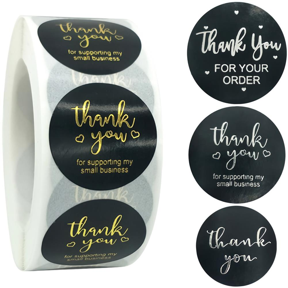 stationery-tape 500pcs Black Stationery Sticker Adhesive Bronze Paper Labels Thank You Scrapbook Sealing Envelope Stickers Supplies HOB1750850 1