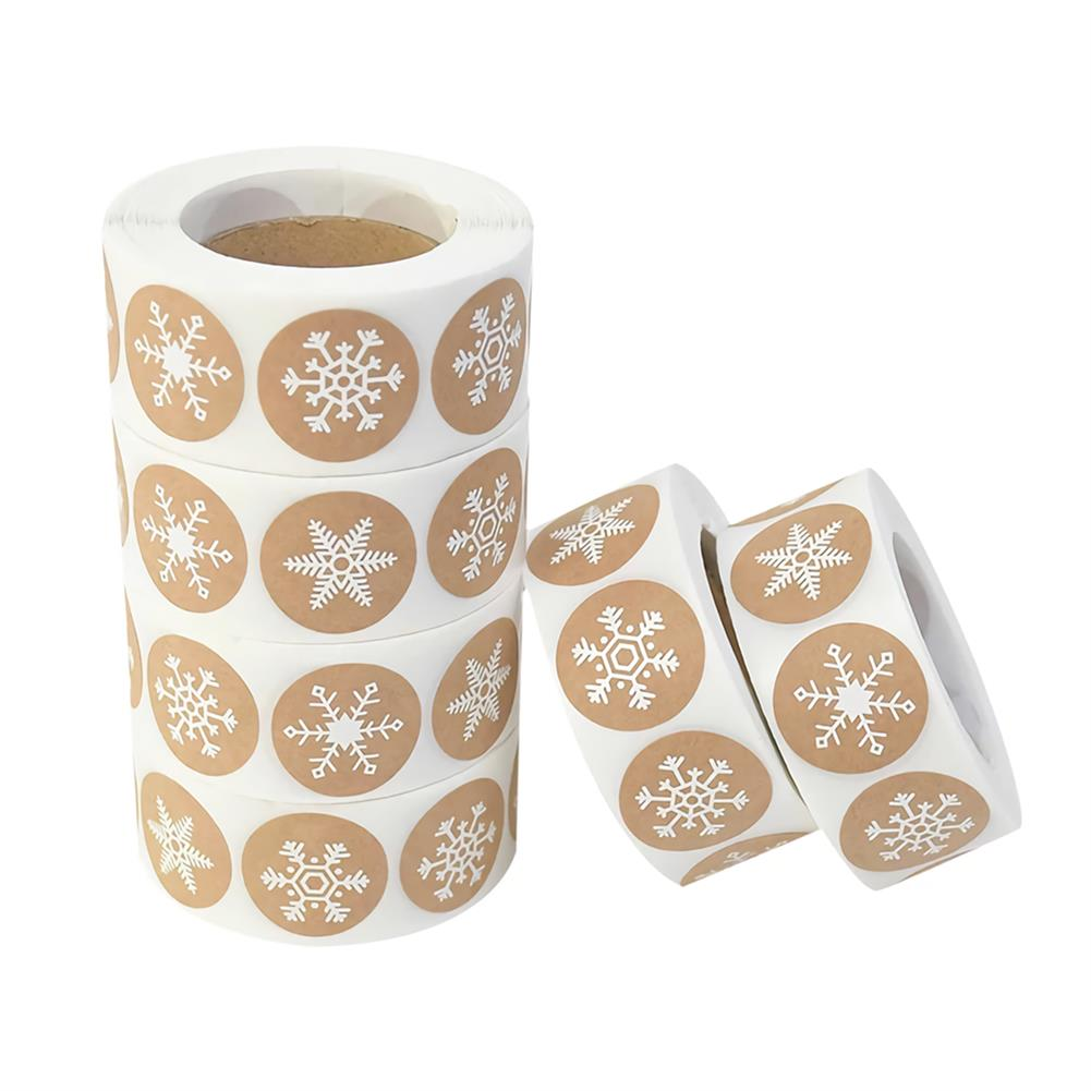 stationery-tape 500pcs Snowflake Paper Stickers Label Christmas Gift Decoration Gift Box Seal Envelope Label Package Seal Paper Stickers HOB1750859 1 1