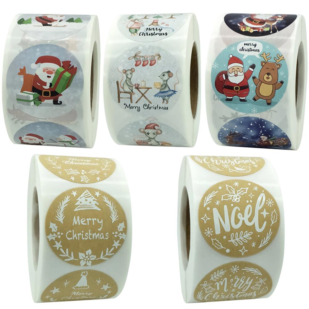 stationery-tape 500pcs Merry Christmas Stickers Card Box Package Santa Label Craft Sealing Stickers Wedding Decor Party Supplies HOB1750873 1