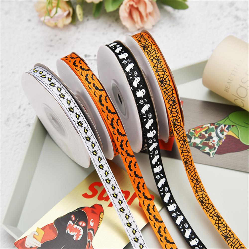 stationery-tape 25 Yards 1cm Halloween Grosgrain Ribbon Printed Ribbons Polyester Ribbon for Wedding Christmas Decoration DIY Handmade HOB1751002 1