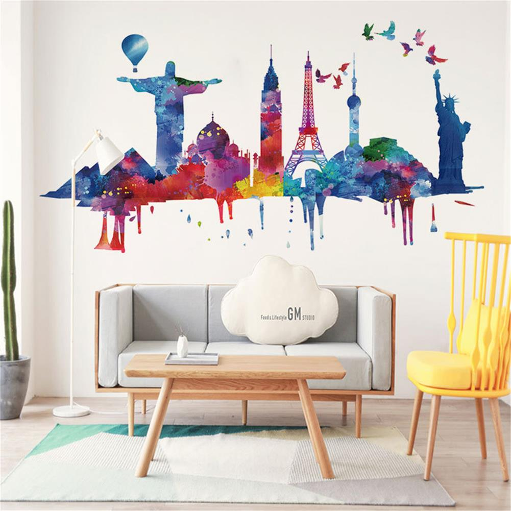art-kit City Architecture Wall Sticker Painting Sofa Wall Dormitory Company Wall Decoration Self-Adhesive Wallpaper Living Room HOB1751016 1 1