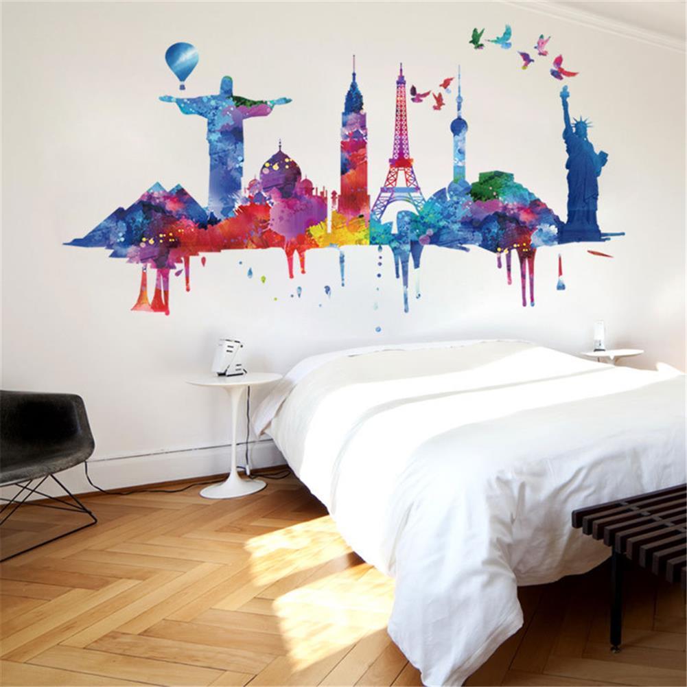 art-kit City Architecture Wall Sticker Painting Sofa Wall Dormitory Company Wall Decoration Self-Adhesive Wallpaper Living Room HOB1751016 2 1