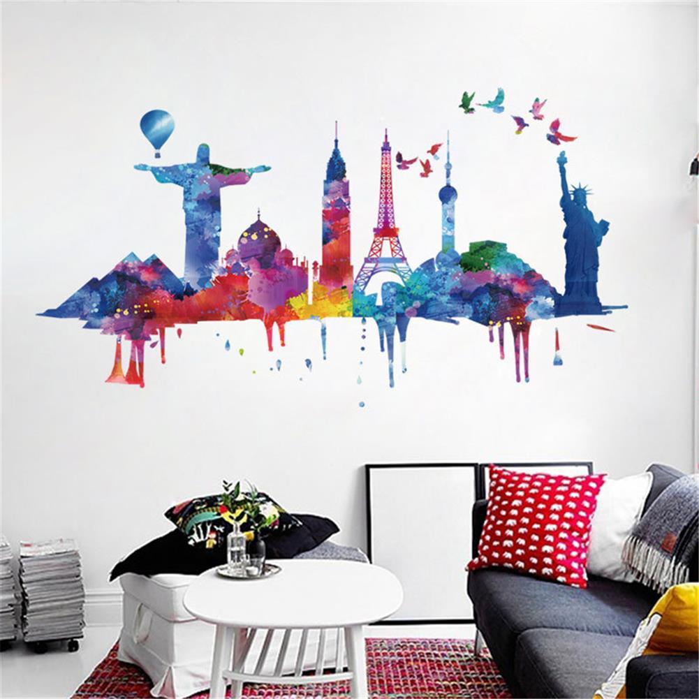 art-kit City Architecture Wall Sticker Painting Sofa Wall Dormitory Company Wall Decoration Self-Adhesive Wallpaper Living Room HOB1751016 3 1