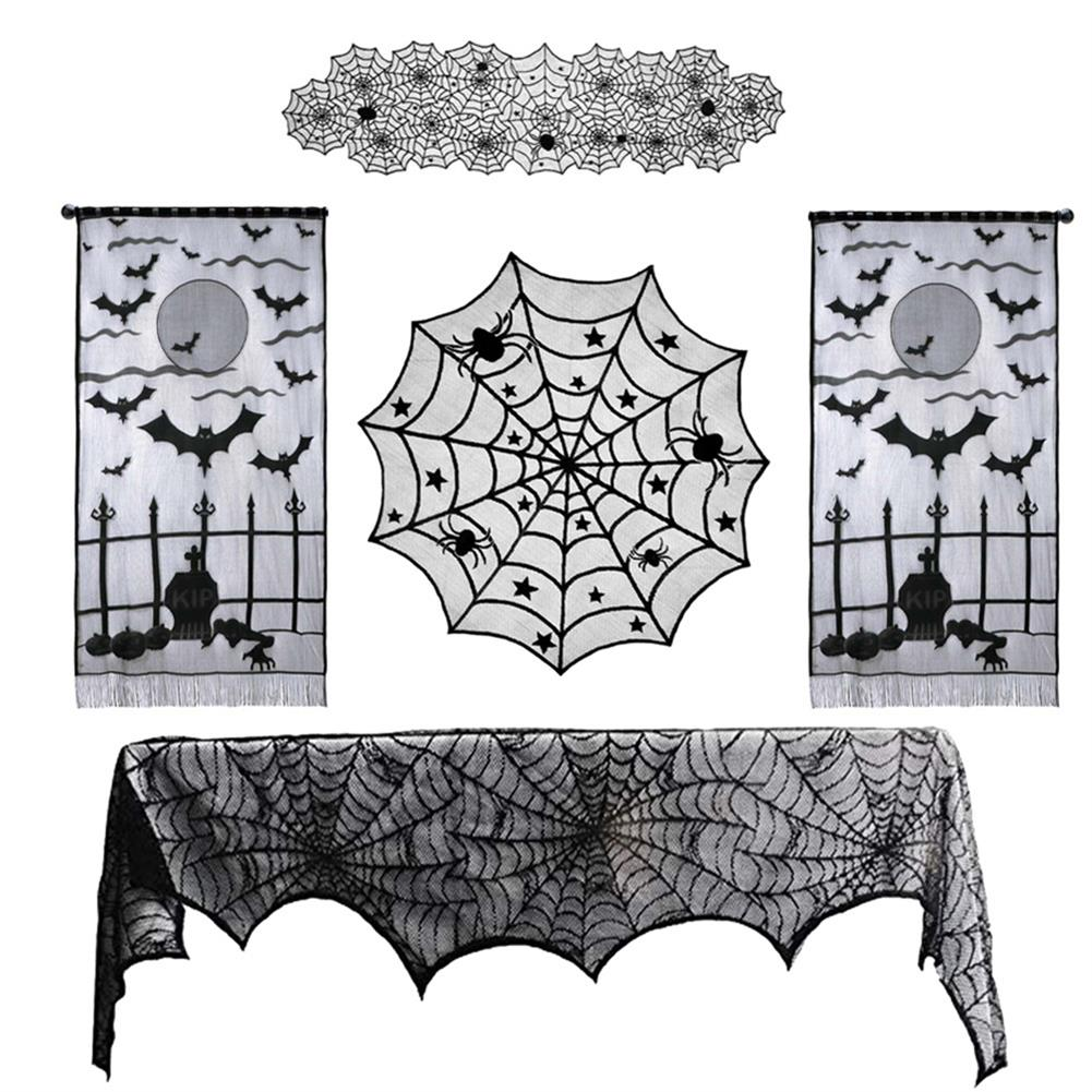 other-learning-office-supplies Halloween Ghost Festival Lace Table Cloth Curtain Black Spider Web Web Tablecloth Halloween Decoration Party Tablecloth HOB1751824 1