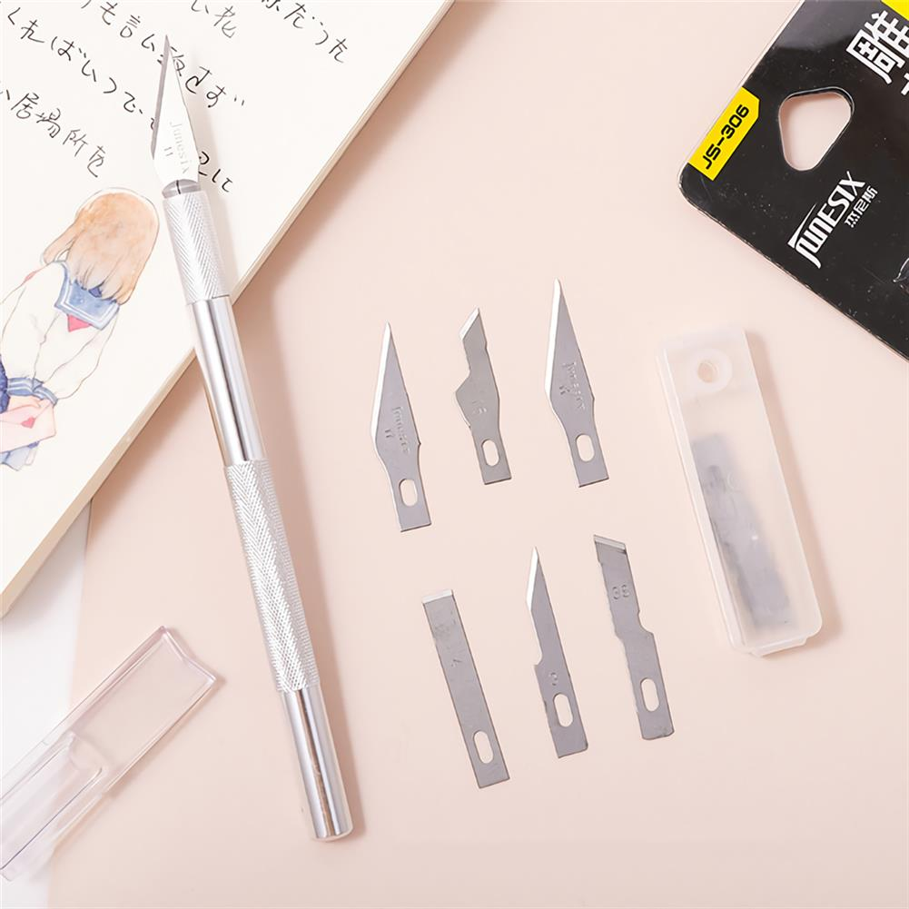 utility-knife Junesix Utility Knife Sets 1 Carving Pen+6 Blades Metal Carving Knife Paper Cutting Knife DIY Multifunction Carving Tool HOB1751839 1