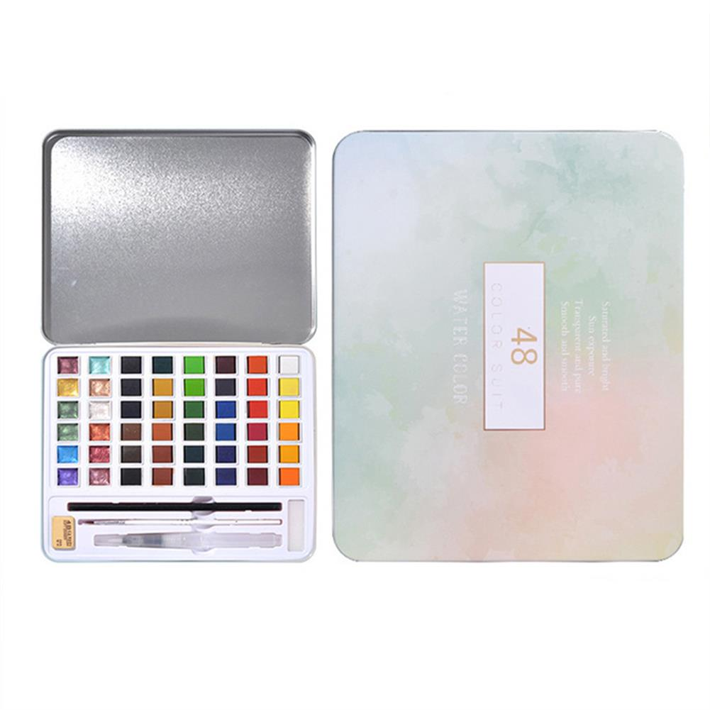 watercolor-paints 36/48 Colors Solid Watercolor Pigment Set Iron Box Solid Watercolor Paint Set Portable Beginner Painting Supplies HOB1752775 1 1