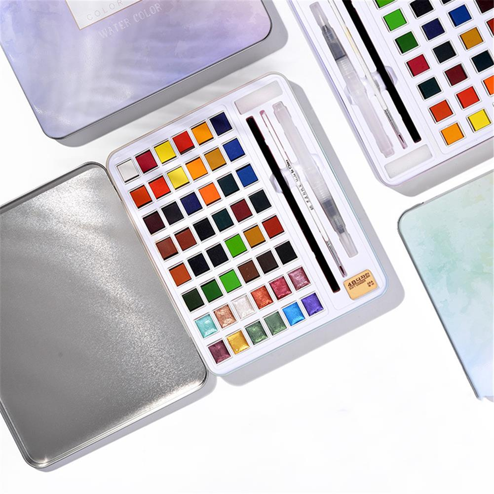 watercolor-paints 36/48 Colors Solid Watercolor Pigment Set Iron Box Solid Watercolor Paint Set Portable Beginner Painting Supplies HOB1752775 2 1