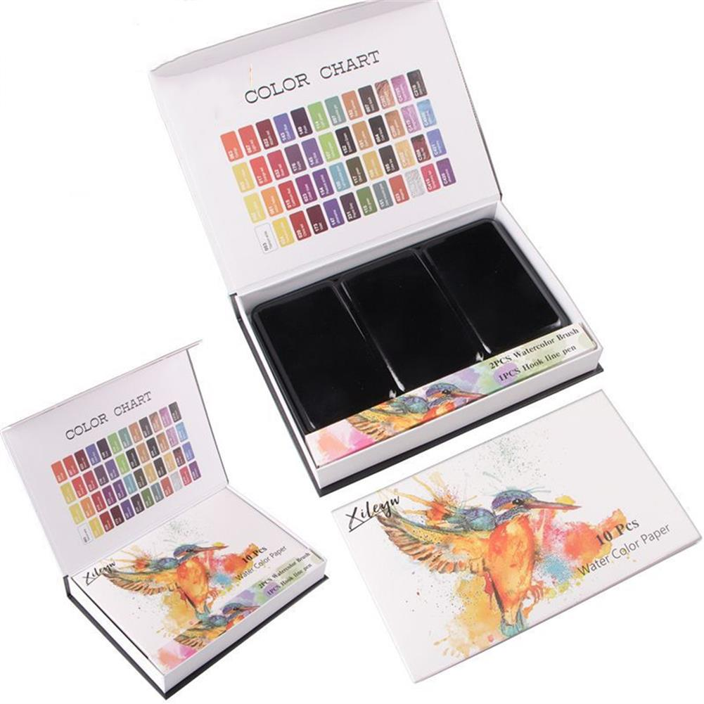 watercolor-paints 48 Colors Solid Watercolor Pigment Set Buy Solid Watercolor Paint Set Iron Box Drawing Set for Beginners Painting HOB1752829 2 1