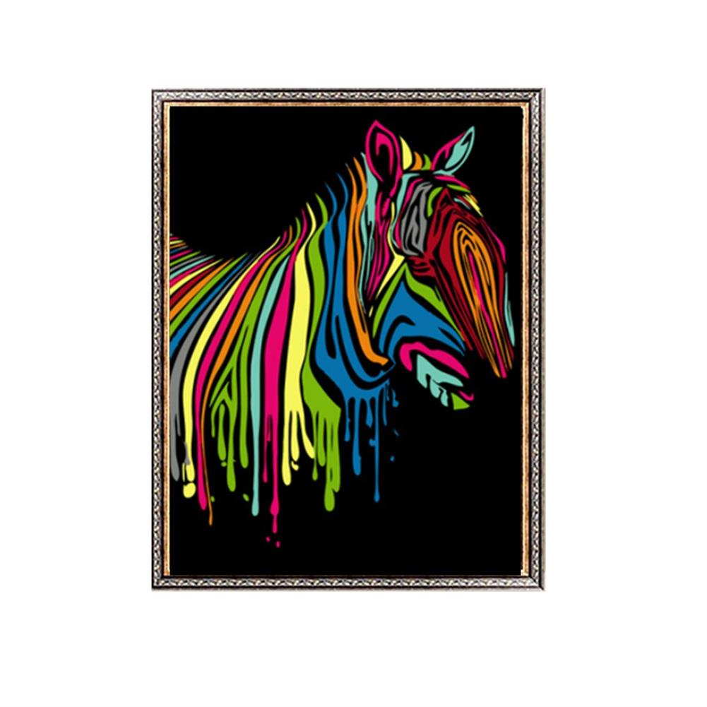 other-learning-office-supplies Wooden Framed Painting by Number Kit DIY Painting Rainbow Zebra Hanging Pictures Home Wall Decoration Supplies HOB1752833 1
