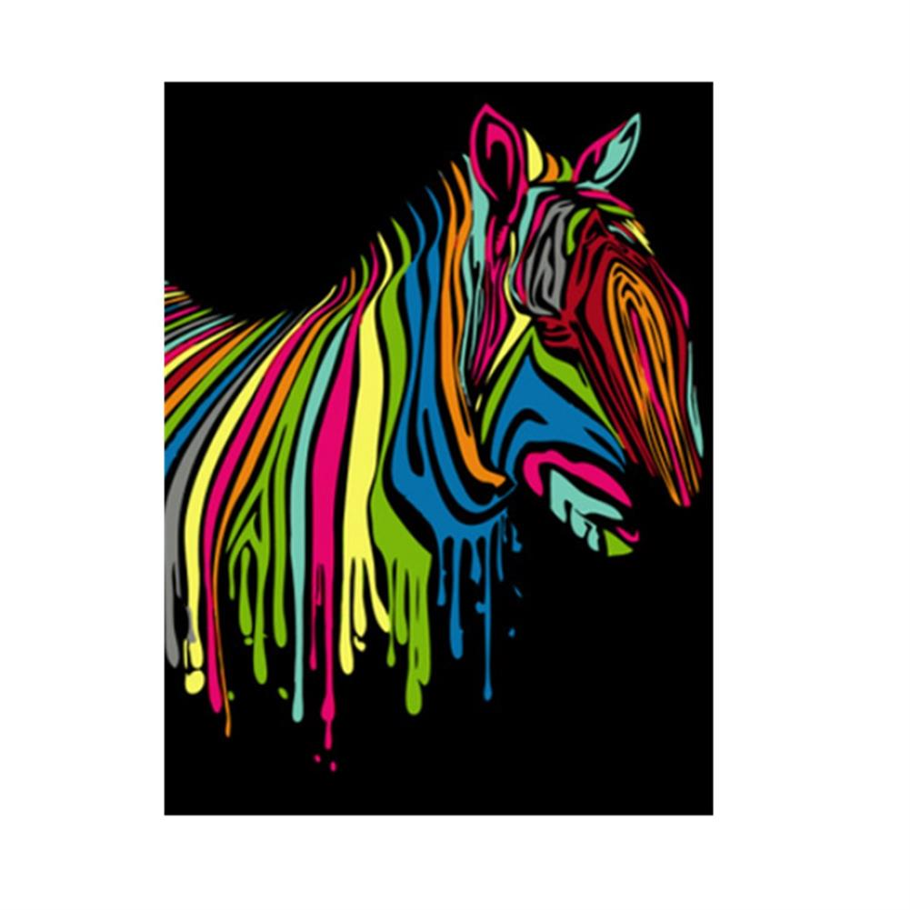 other-learning-office-supplies Wooden Framed Painting by Number Kit DIY Painting Rainbow Zebra Hanging Pictures Home Wall Decoration Supplies HOB1752833 1 1