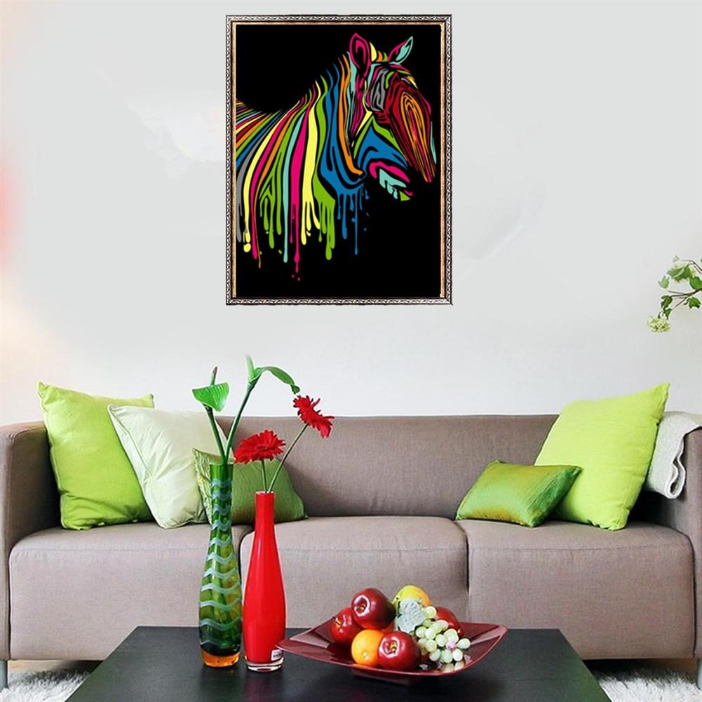 other-learning-office-supplies Wooden Framed Painting by Number Kit DIY Painting Rainbow Zebra Hanging Pictures Home Wall Decoration Supplies HOB1752833 2 1
