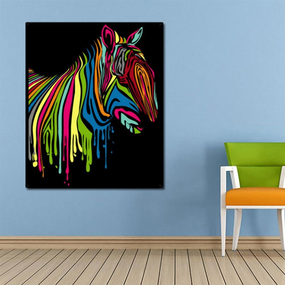 other-learning-office-supplies Wooden Framed Painting by Number Kit DIY Painting Rainbow Zebra Hanging Pictures Home Wall Decoration Supplies HOB1752833 3 1