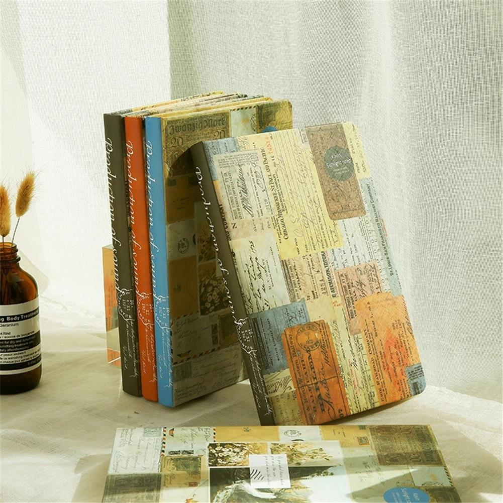 paper-notebooks A5 Retro Style Color Page Diary Personality Creative Illustration Kraft paper Notebook Old Stamp Style Diary Book HOB1752969 1
