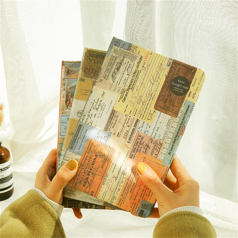 paper-notebooks A5 Retro Style Color Page Diary Personality Creative Illustration Kraft paper Notebook Old Stamp Style Diary Book HOB1752969 1 1