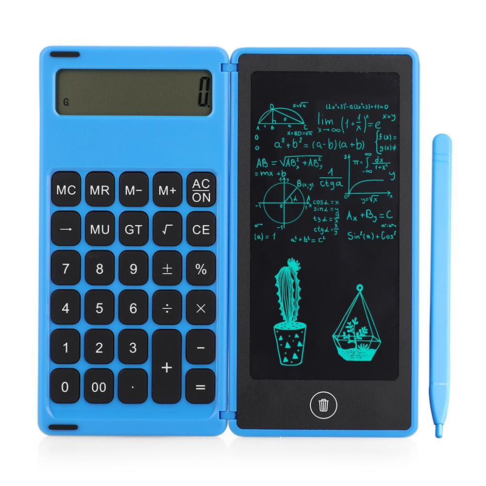 calculator Gideatech 12 Digits Display Desktop Calculator with 6 inch LCD Writing Tablet Foldable Repeated Writing Digital Drawing Pad with Stylus Pen Eraser Button Lock HOB1753165 2 1