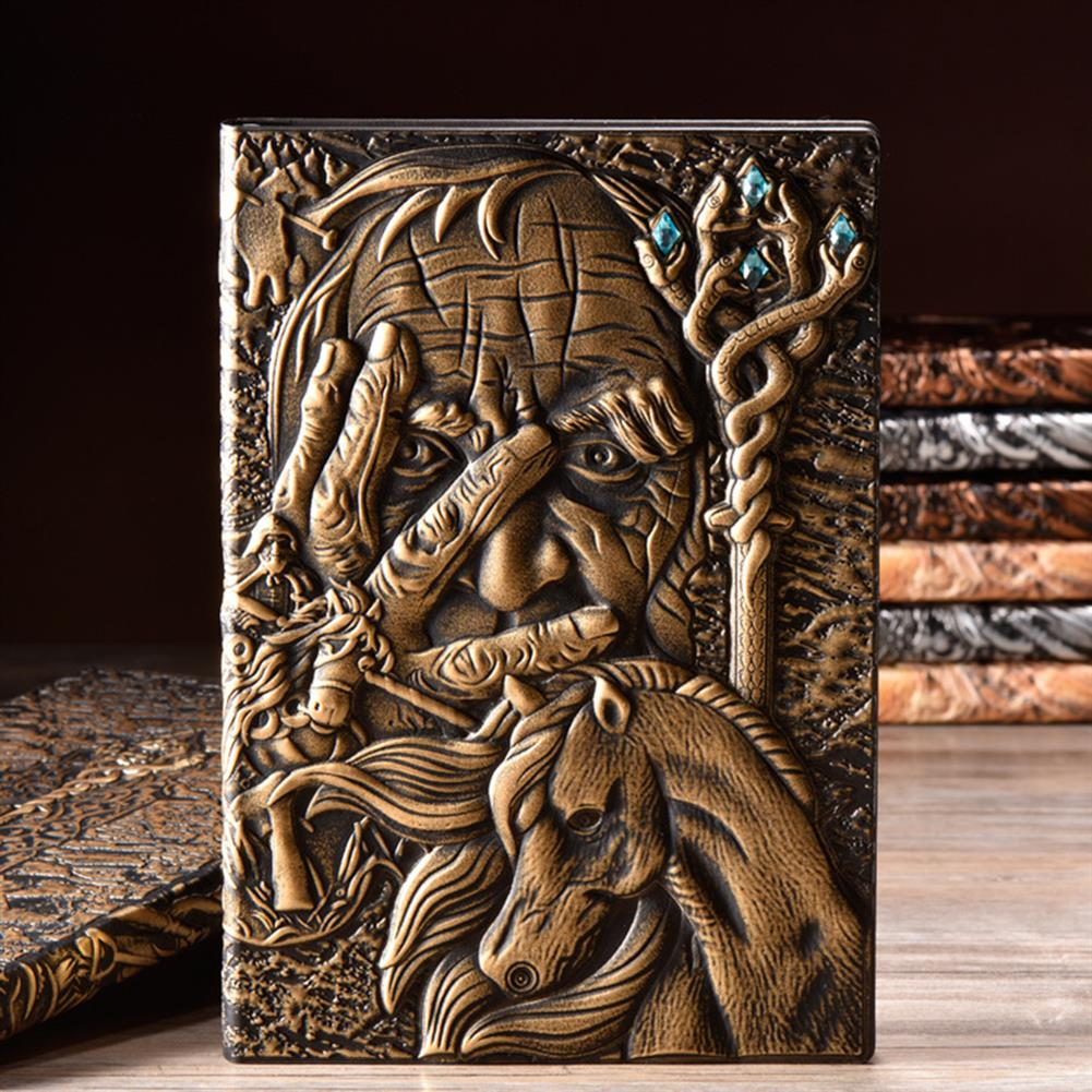 paper-notebooks A5 Embossed Notebook Vintage Leather Magician Hard Cover Diary Journal Book 100 Sheets Notepad HOB1754584 1