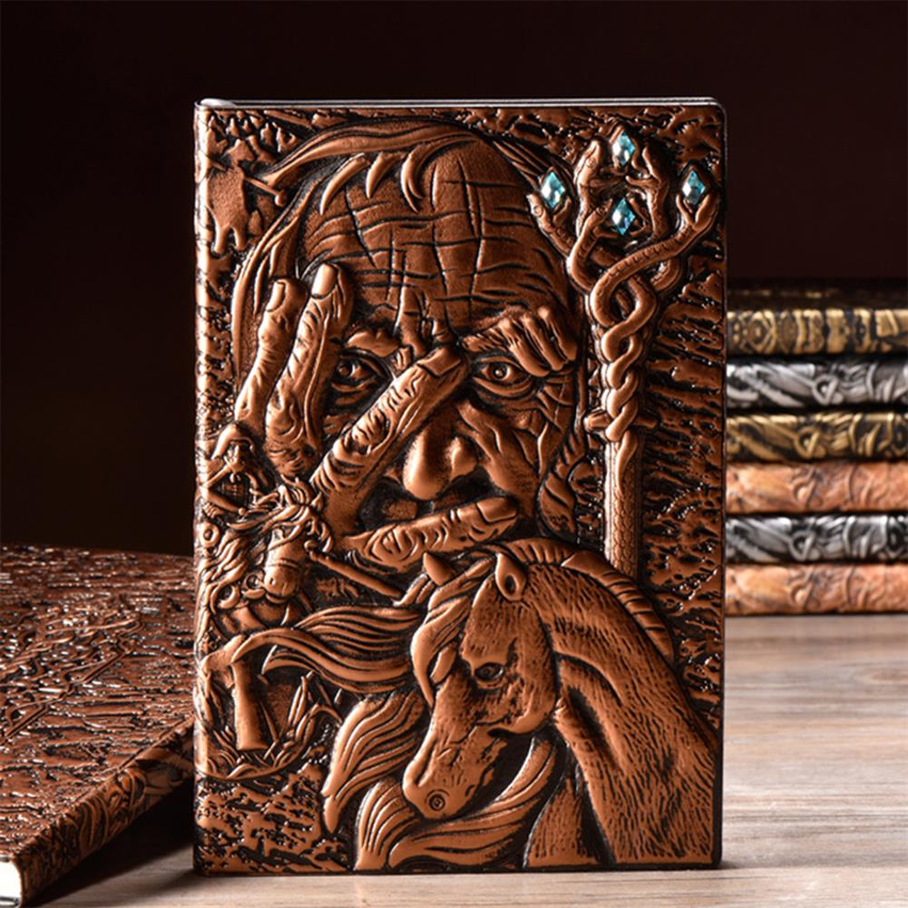 paper-notebooks A5 Embossed Notebook Vintage Leather Magician Hard Cover Diary Journal Book 100 Sheets Notepad HOB1754584 1 1