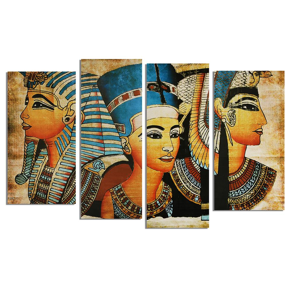 art-kit 4Pcs Canvas Print Paintings Egyptian Pharaoh Oil Painting Wall Decorative Printing Art Picture Frameless Home office Decoration HOB1754927 1