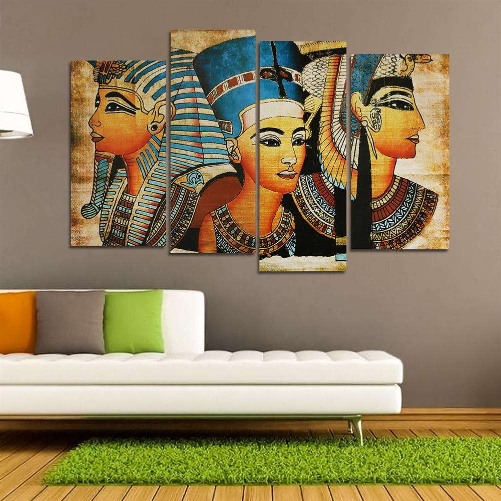 art-kit 4Pcs Canvas Print Paintings Egyptian Pharaoh Oil Painting Wall Decorative Printing Art Picture Frameless Home office Decoration HOB1754927 1 1