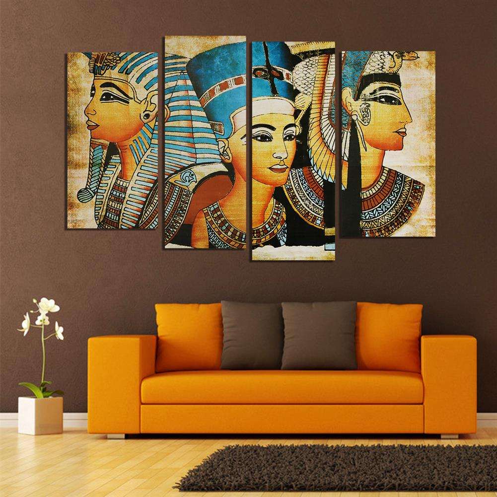 art-kit 4Pcs Canvas Print Paintings Egyptian Pharaoh Oil Painting Wall Decorative Printing Art Picture Frameless Home office Decoration HOB1754927 2 1