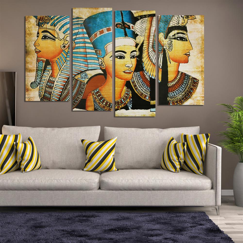 art-kit 4Pcs Canvas Print Paintings Egyptian Pharaoh Oil Painting Wall Decorative Printing Art Picture Frameless Home office Decoration HOB1754927 3 1
