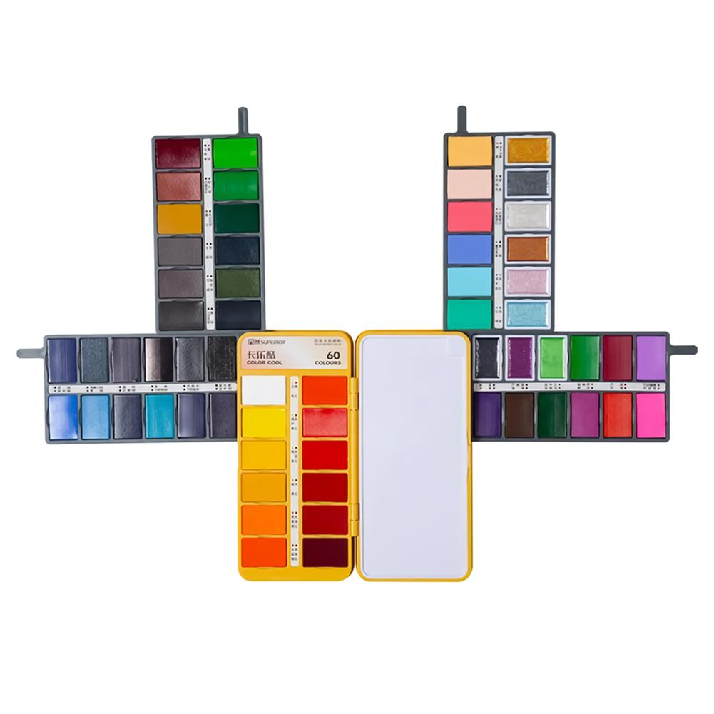 watercolor-paints Superior 36/48/60 Colors Folding Solid Watercolor Paint Set Pearlescent Macaron Watercolor Pigment for Art Drawing HOB1755136 1
