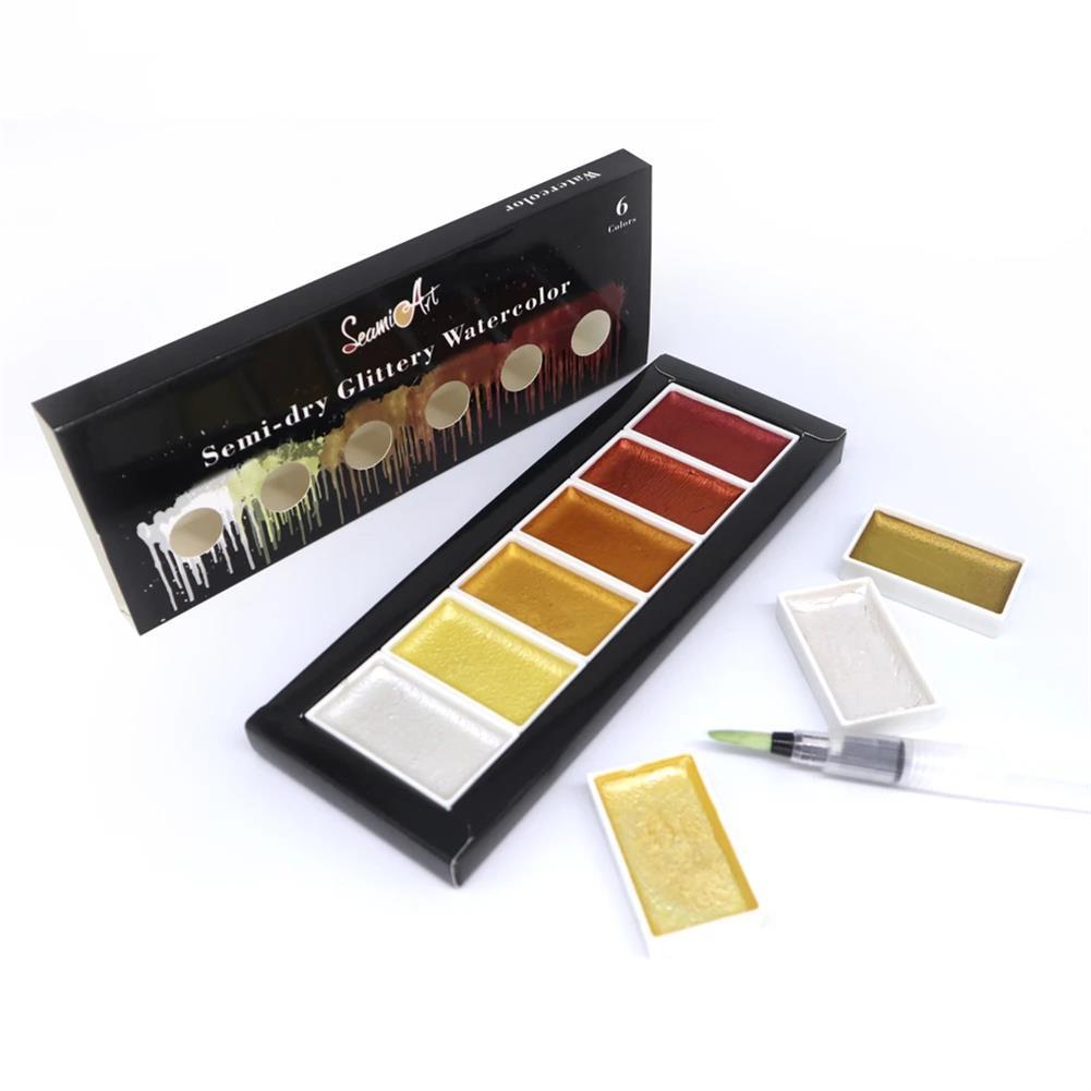 palette SeamiArt 6 Color Box Cool/Warm/Metallic Watercolor Paint Set Drawing Glitter Paint Water Color Pan Pigment for Artist Art Supplies HOB1755289 1