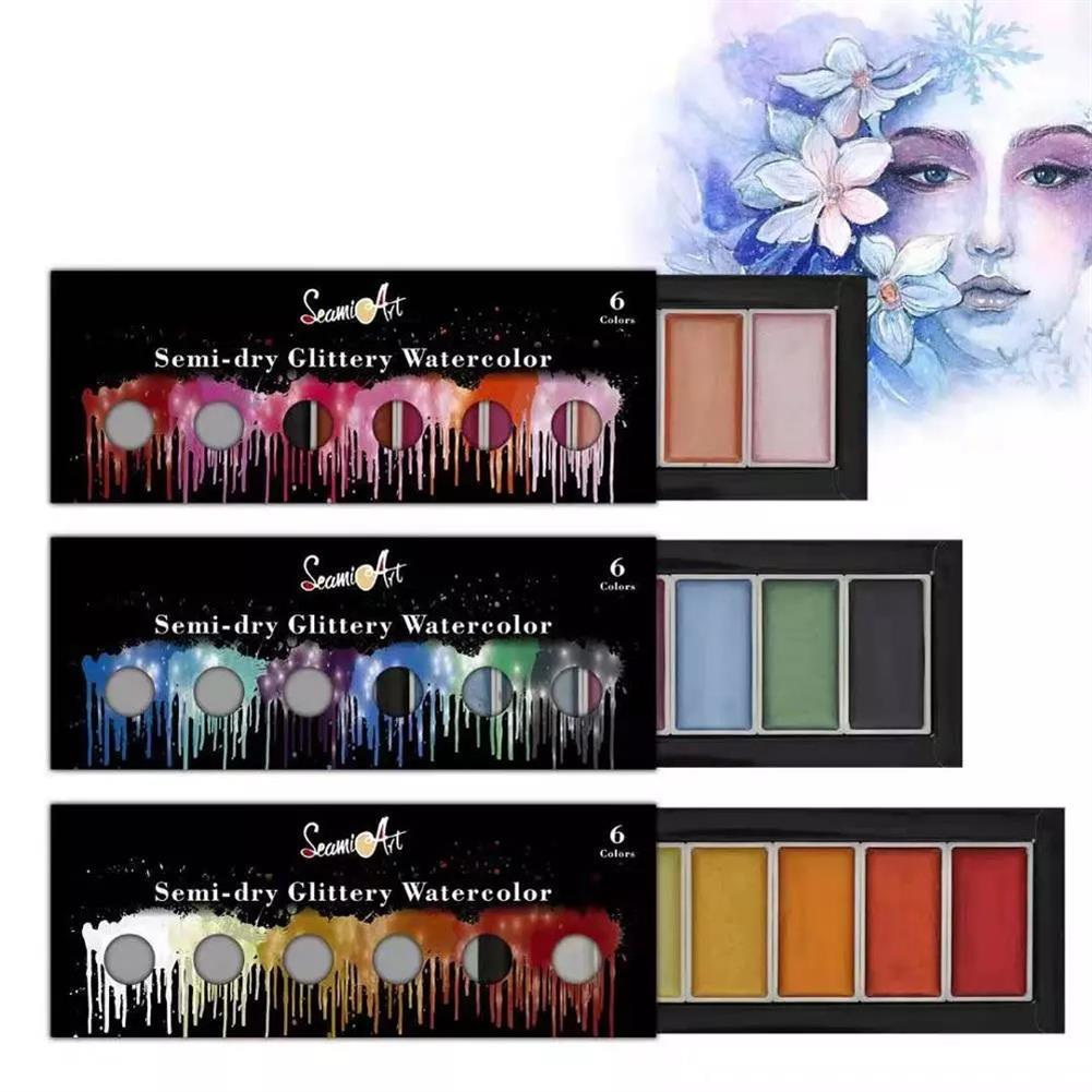 palette SeamiArt 6 Color Box Cool/Warm/Metallic Watercolor Paint Set Drawing Glitter Paint Water Color Pan Pigment for Artist Art Supplies HOB1755289 1 1