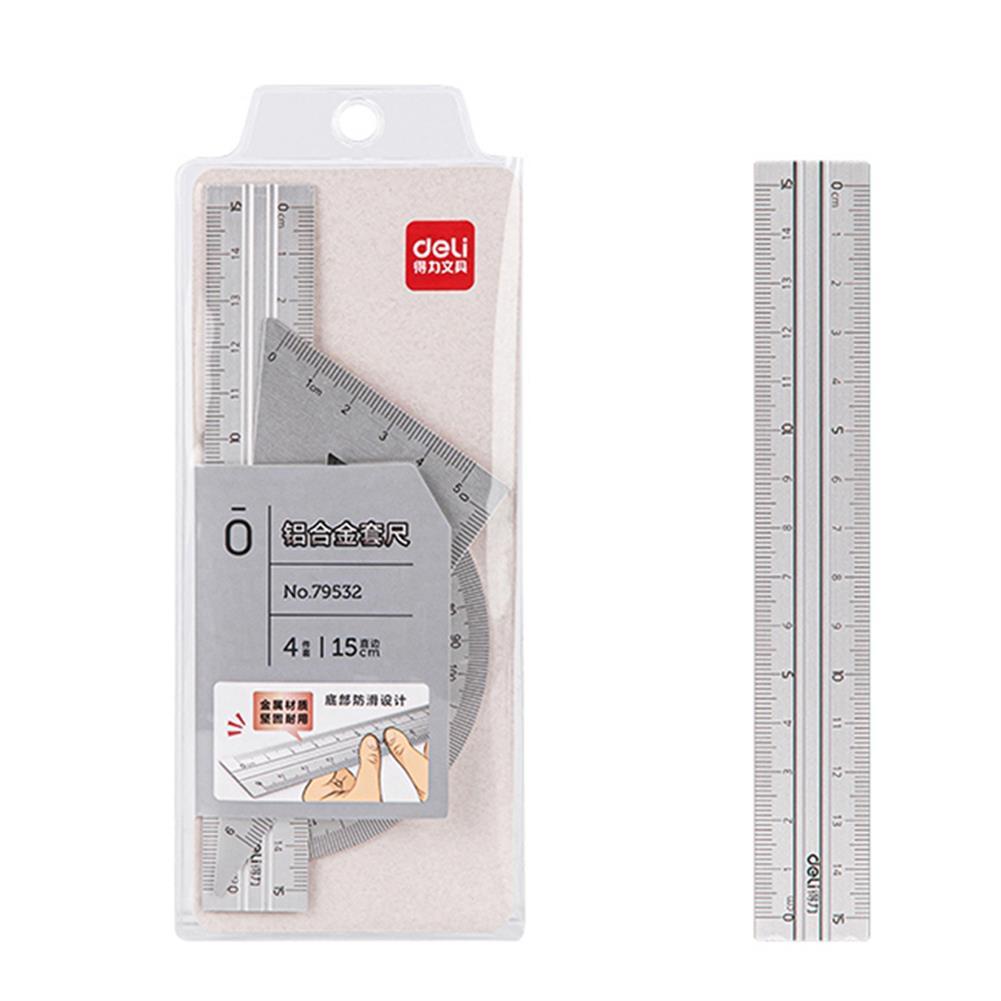 ruler Deli 79532 4pcs/set Metal Ruler Aluminum Alloy Drawing Measurement Geometry Ruler Stationery School office Supplies HOB1755790 1