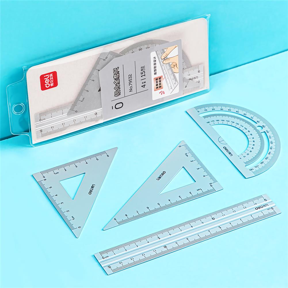 ruler Deli 79532 4pcs/set Metal Ruler Aluminum Alloy Drawing Measurement Geometry Ruler Stationery School office Supplies HOB1755790 1 1