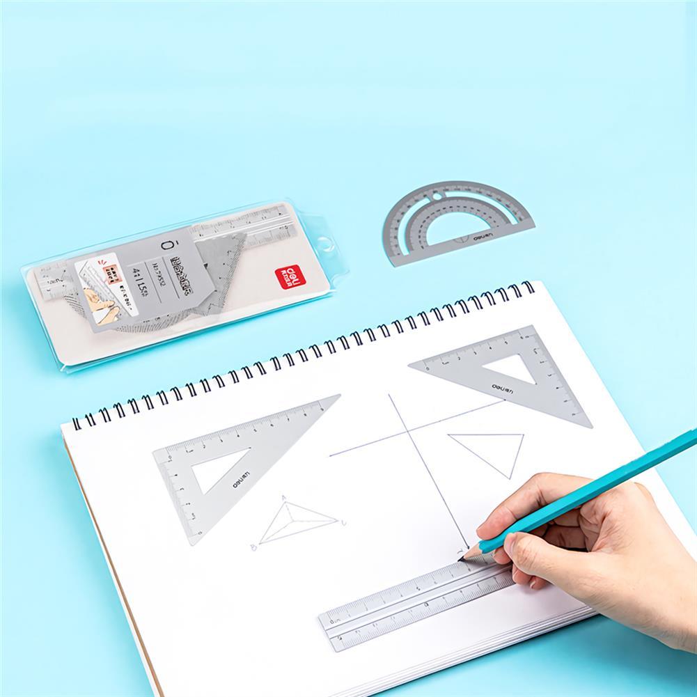 ruler Deli 79532 4pcs/set Metal Ruler Aluminum Alloy Drawing Measurement Geometry Ruler Stationery School office Supplies HOB1755790 2 1