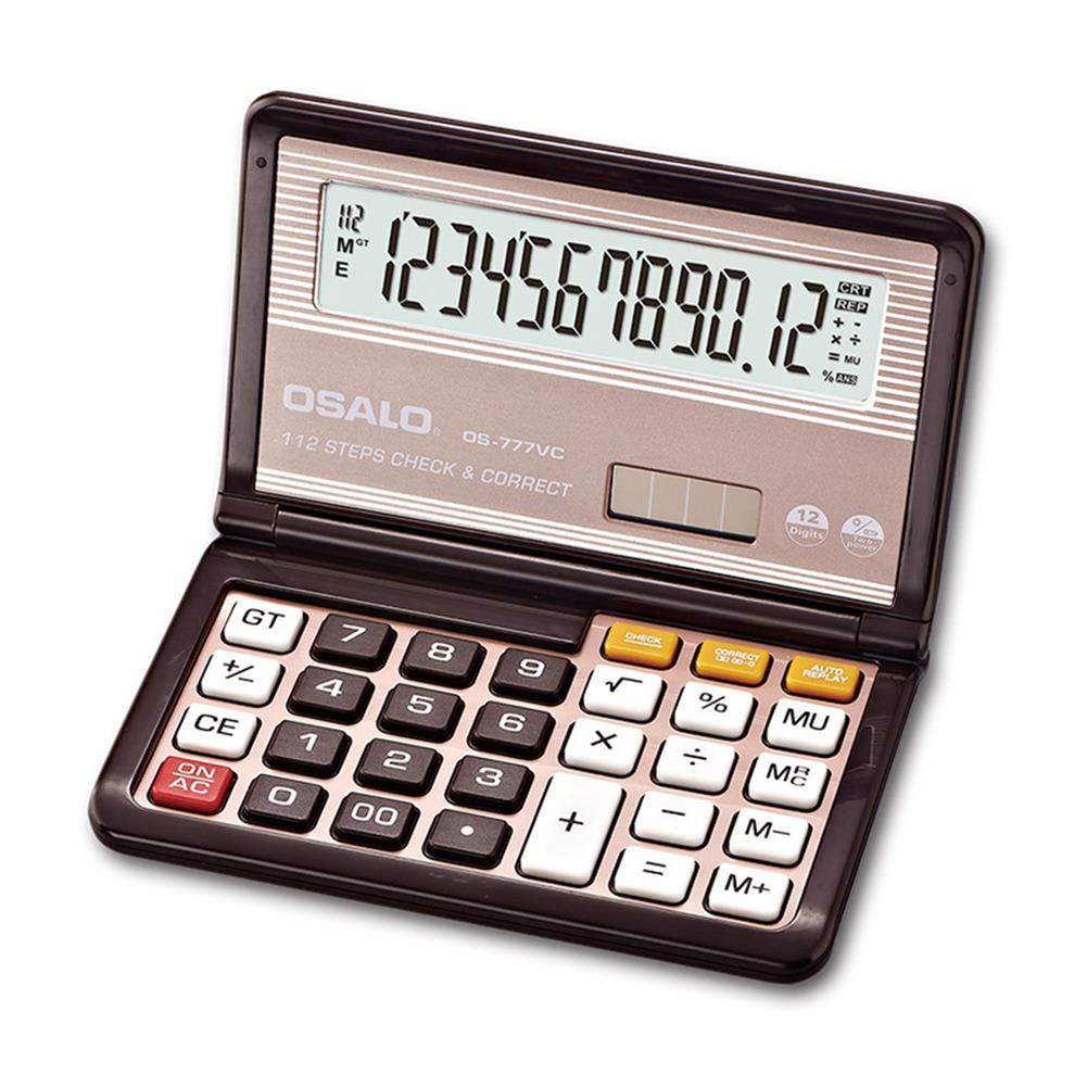 calculator OSALO OS-777VC Folding Calculator 12 Digit Solar Dual Power Supply Portable Calculator School Students office Finance HOB1756813 1
