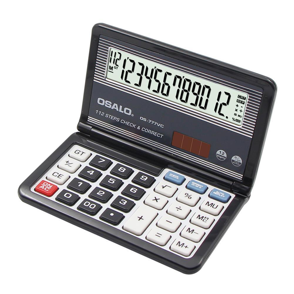 calculator OSALO OS-777VC Folding Calculator 12 Digit Solar Dual Power Supply Portable Calculator School Students office Finance HOB1756813 1 1